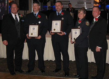 From left: Chris Lukenda, Valor Awards Committee Chairman and recording secretary for the New Jersey Fireman's Mutual Benevolent Association; Firefighters Christopher Larcombe, Bradley Ladislaw, Terri DelVicario, and Ed Donnelly, NJ FMBA President