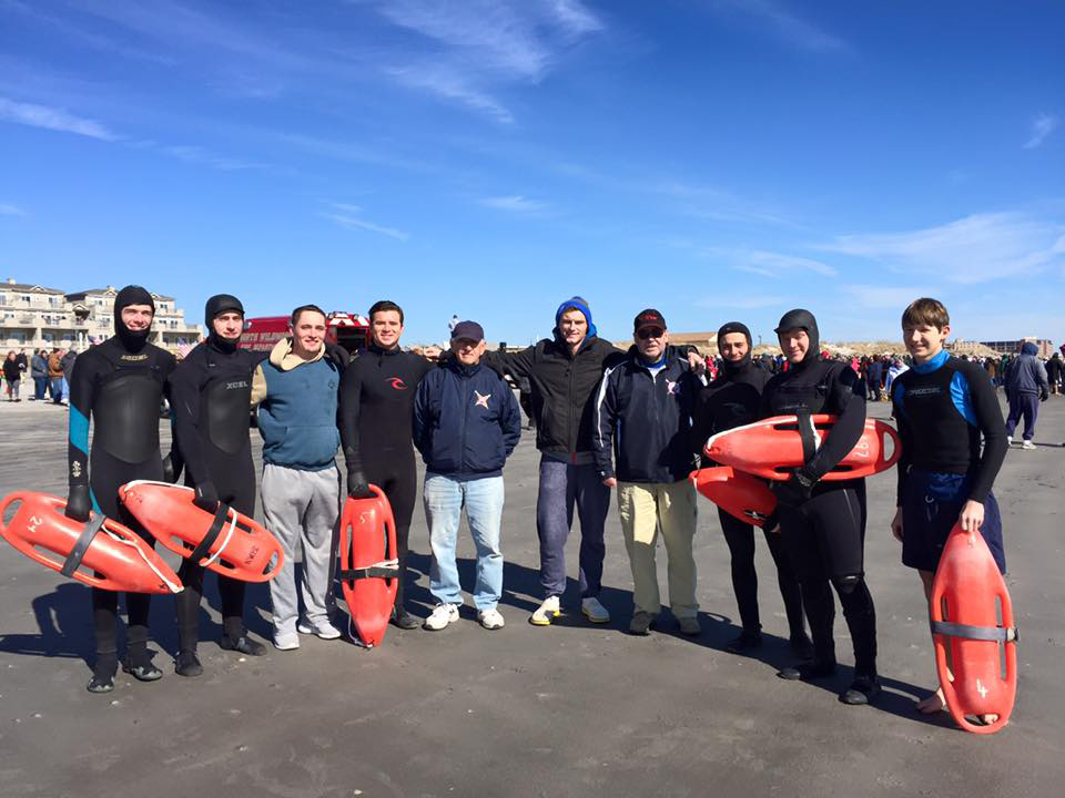 On Saturday, February 27th , members of the North Wildwood Beach Patrol were back in action patrolling the ocean during the Fallen Heroes Polar Plunge. Approximately 1,000 people plunged this year, the biggest crowd to date. Pictured from L to R: Vinny DeRitis, Sean McCarrick, Jim O'Conner, Mike Drumm, Vince Piccirilli, Jeremy Lahn, NWBP Chief Tony Cavalier, Ryan Meehan, Mark Gose and Jack Dougherty.